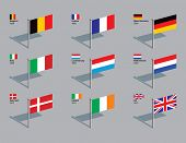 Flags of first 9 countries of the EU (Belgium, France, West Germany, Italy, Luxembourg, Netherlands,