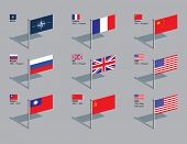 The flags of NATO and the five current permanent members of the UN Security Council, plus former mem