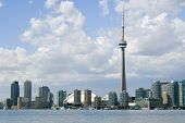 Downtown Toronto - including the Rogers Centre, CN Tower, and Harbourfront Centre - on a partly clou