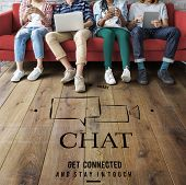 Social Media Chat Message Global Network Online Communication Speech Bubble Graphic poster