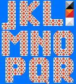 Color latin alphabet like cross pattern. Ukrainian design. Blue background. Part 2 of 3