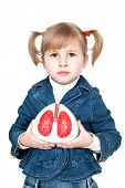 little girl with lungs in hand