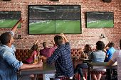 Friends Watching Game In Sports Bar On Screens Celebrating poster