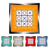 Square tick tack toe burst vector buttons