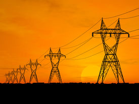 stock photo of electricity pylon  - 3D Electric powerlines over sunrise illustration montage - JPG