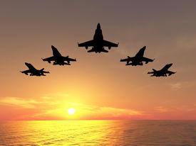 stock photo of fighter plane  - Five bombers over orange sunset  - JPG