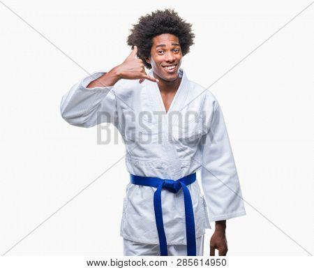 Afro american man wearing karate