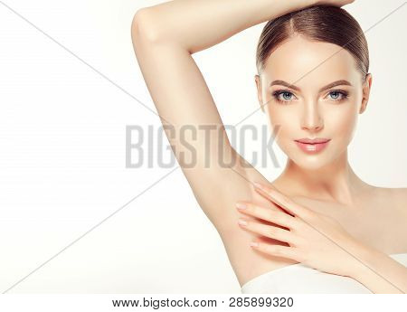 poster of Armpit Epilation, Lacer Hair Removal. Young Woman Holding Her Arms Up And Showing Clean Underarms, D