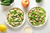 Healthy Diet Food From Tuna And Vegetables. Tuna Salad With Slices Of Cucumber, Avocado, Red Apple I poster