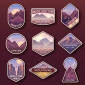 Set Of Nine Mountain Travel Emblems. Camping Outdoor Adventure Emblems, Badges And Logo Patches. Mou poster
