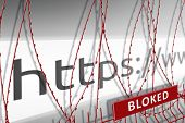 Image Of The Address Bar Of The Website Is Blocking The Fence With Barbed Wire - Blocked Internet Co poster