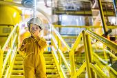 Boy Operator Recording Operation Of Oil And Gas Process At Oil And Rig Plant, Offshore Oil And Gas I poster