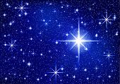 Starry Sparkle Vector Background With Twinkle Stars. Сlean Night Blue Sky For Holiday. Shiny Christm poster