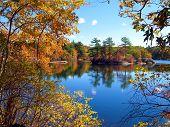 Lake View Through A Tracery Of Autumn Foliage