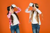 Discover Virtual Reality. Kids Girls Play Virtual Reality Game. Friends Interact In Vr. Explore Alte poster