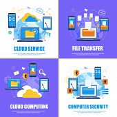 Cloud Service. File Transfer.cloud Computing. Computer Security. Flat Banner Set Color Background. V poster