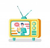 Advertisement On Television Vector, Advertising Of Products Via Tv Set. Isolated Icon Of Mass Media, poster