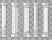 Antique White Columns. Roman Column, Greek Pillar. Ancient Architecture, Greece. Antique Prehistoric poster