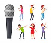 Pop Artists Or Performers, Celebrities Sing Songs And Musical Electric Device. Men And Women Singing poster