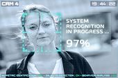 Simulation Of A Screen Of Cctv Cameras With Facial Recognition. Facial Recognition Of A Woman. poster