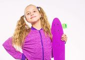 Child Hold Penny Board. Kid Long Hair Carry Penny Board. Plastic Skateboards For Everyday Skater. Pe poster