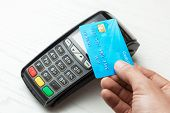Pos Terminal, Payment Machine With Credit Card On White Background. Contactless Payment With Nfc Tec poster