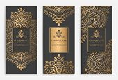 Gold And Black Packaging Design Of Chocolate Bars. Vintage Vector Ornament Template. Elegant, Classi poster
