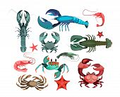 Crustaceans And Starfishes Set. Sea Creature Collection. Can Be Used For Topics Like Seafood, Ocean, poster