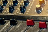 Audio Sound Mixer Console. Sound Mixing Desk. Music Mixer Control Panel In Recording Studio. Audio M poster