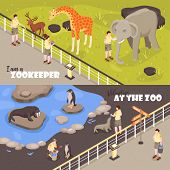 Set Of Two Isometric Zoo Workers Horizontal Banners With View Of Enclosures With Animals And Text Ve poster