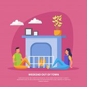 Lazy Weekends People Flat Background With Weekend Out Of Town Description And Romantic Date Of Coupl poster
