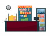 Cinema Counter Of Seller Vector, Snacks And Beverages. Nutrition During Watching Films, Popcorn And  poster
