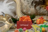 Graphic Background, Carnival And Floral Corso, Battle Of Flowers, Label With The Word Carnival In Fr poster
