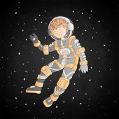 Cute Cartoon Asrtonaut Girl Floating In Space Vector Illustration. Girl In Space Helmet Among Stars, poster