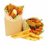 Southern Fried Chicken Fillets And Salad In Wholemeal Tortilla Wraps With French Fries Isolated On A poster