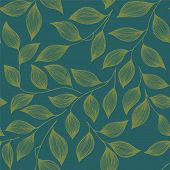 Wrapping Tea Leaves Organic Seamless Pattern Vector. Cute Tea Plant Bush Green Leaves Floral Fabric  poster