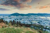 Cityspace. View From Hill Of City Bergen And Fjord Landscape Evening Scenery, Norway poster