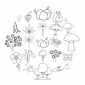 Variety Of Flora Icons Set. Outline Set Of 25 Variety Of Flora Vector Icons For Web Isolated On Whit poster