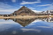 The Mountain Stapafell Reflected In A Pool At Arnarstapi On The Snaefellsnes Peninsula, Iceland. poster