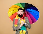 Predict Future Weather Trends. Man Bearded Guy Hold Colorful Umbrella. It Seems To Be Raining. Rainy poster