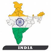 India Map And India Flag. India Map And India Flag Use For Background Drawing By Illustration poster