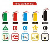 VECTOR - Fire Safety Set Different Types of Extinguishers (Water, Foam, Dry Powder, Halon, Carbon Di
