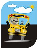 VECTOR - School Bus with Driver & Kindergarten Happy Students Boys & Girls - going on a Journey in S