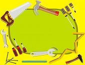 VECTOR - Construction Background - with place for Text - Many Tools Objects (hammer, screwdriver, st