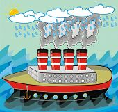 VECTOR - Steamship Traveling in Stormy Weather in the Ocean with Rough Sea - Polluted Smoke is Coming Out from the Ship Chimney