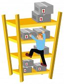 VECTOR - Storekeeper Climbing Warehouse Shelves to move some packed Goods Boxes in Wrong Way -  Cartoon Comic Character - The man has Limited Experience doing his Job - Cardboard are not Arranged