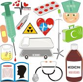 Medical Icons Set - Pill, Injection, Blood Drop, Hospital Bed, Stethoscope, plaster, First Aid Kit,