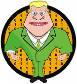 VECTOR - Bodyguard Cartoon Character with Numbers in the Background Circle Shape
