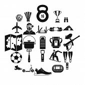 Camping In The Woods Icons Set. Simple Set Of 25 Camping In The Woods Icons For Web Isolated On Whit poster