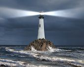 picture of lighthouse  - Image of a lighthouse with a strong beam of light - JPG